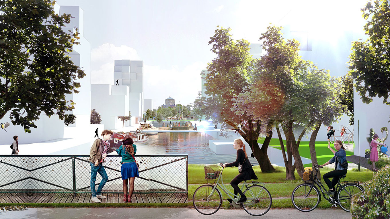 Visualisation of blue-green environment in dense future city. Photo: EG Architects